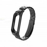 Screwless Three Beads Stainless Steel Band Replacement for Xiaomi Mi Smart Band 4 / Mi Band 3 - Black