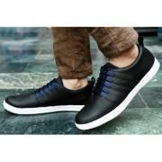 Men's Black Lace-up Smart Sneakers