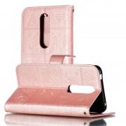 Nokia Olifant reliëf patroon horizontale Flip lederen case voor Nokia 7 (2018) & 7 1 met houder & kaartsleuven & portemonnee & foto frame & Lanyard (Rose goud)