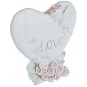 Hjärtformad Fin Figur med Ängel och Love 7,5 cm