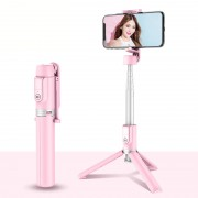 MAGIC SHADOW M12 Integrated Extension Multi-functional Selfie Stick Tripod Bluetooth Remote Control - Pink
