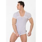 Eros Veneziani Mesh Stripe Unique Neckline Short Sleeved T Shirt White 7199