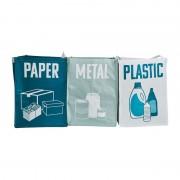 Xenos Afvaltassen - set van 3 - metaal/papier/plastic