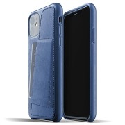 Mujjo Full Leder iPhone 11 Wallet Cover - Blauw