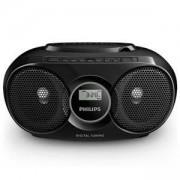 CD радиокасетофон Philips, компактна конструкция, USB, цвят черен, AZ318B