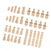 MagiDeal 40 Pieces Wooden Peg People Family Bride Groom Nesting Set Peg Dolls Wedding Cake Toppers DIY Craft
