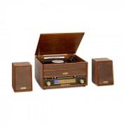 Auna Belle Epoque 1910 Chaîne stéréo rétro platine vinyle lecteur CD marron