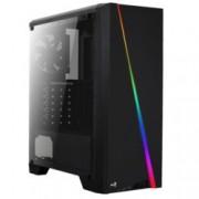 Кутия AeroCool Cylon RGB, ATX/Micro-ATX/Mini-ITX, USB 3.0, RGB, 1x 120mm вентилатор, четец за SD/microSD карти, прозорец, черна, без захранване
