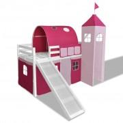 vidaXL Loftsäng med rutschkana och stege trä rosa