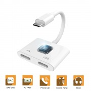 USB C Double Type-C Splitter Digital Audio Charging Adapter Converter Support PD Fast Charge - White