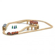 Melissa & Doug Juego infantil de tren de madera con puente giratorio (47 piezas)