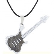 The Jewelbox Funky Music Guitar Black Surgical Stainless Steel Pendant Necklace Chain For Boys Men