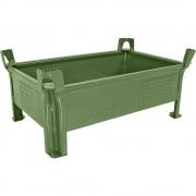 Heson Stapelbehälter aus Stahlblech, niedrige Bauform, Wände geschlossen BxL 500 x 800 mm, Traglast 1000 kg grün, ab 10 Stk
