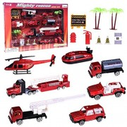 Fun Little Toys Mighty Fire Rescue Hero Role Play Action Vehicle Play Set with Boat, Lifting Truck, Construction Trucks, Off-road Vehicles, SUV, Helicopter, and Accessories 15pcs
