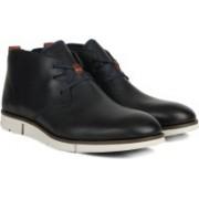Clarks Trigen Mid Navy Leather Boots For Men(Black)