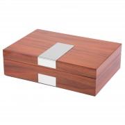 Warren Asher Klassische Silberfarbene & Kirschholz Uhrenbox Für 8 Uhren