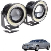 Auto Addict 3.5 High Power Led Projector Fog Light Cob with White Angel Eye Ring 15W Set of 2 For Audi A6