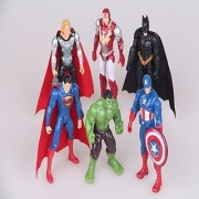 Marvel DC 6 pc Action Figures Batman Superman Ironman Captain America Thor Hulk