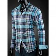 Pánská košile Victorio tyrkysová kostka Victorio V17-M