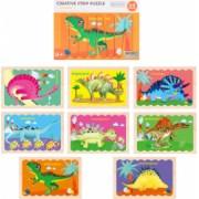 Puzzle cu piese betisoare din lemn Creative Puzzle Stripes Dinozauri - Krista and reg