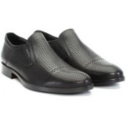 Brune BRUNE Black Perforated 100% Genuine Leather Loafer Shoes For Men /Hand Made Leather Loafer Shoes/Hand Finished Leather Shoe /Latest Formal Slip-on Shoe For Men/Designer Formal Slip-on Shoe For Men/Branded Leather Shoe For Men /Stylish And Best Leath