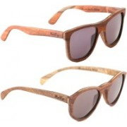Wood Eye Wayfarer, Oval Sunglasses(Grey)