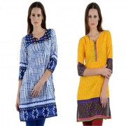 Pack of 2 Multicolor Printed Georgette Stitched Kurti