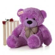 4 Feet Purple Big Teddy Bear with a Bow