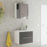 Spiegelschrank und Waschtisch in Anthrazit und Weiß LED Beleuchtung (2-teilig)