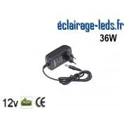 Transformateur LED sur prise 12V DC 36W ref tp12-36