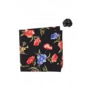 Original Penguin Leandro Floral Pocket Square Lapel Pin Set BLACK
