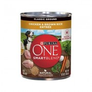 Purina ONE SmartBlend Classic Ground Chicken & Brown Rice Entree Adult Canned Dog Food, 13-oz, 12ct