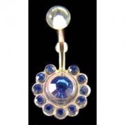 Piercing de nombril Fleur strass bleu