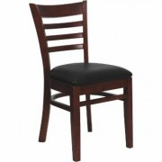 Flash Furniture Wood Chair with Padded Seat/Ladder Back - Mahogany Finish/Black Vinyl, 800-Lb. Capacity, 17 1/2Inch W x 20.Inch D x 33 3/4Inch H,