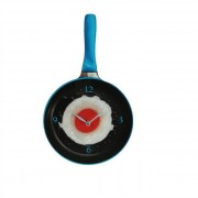 Wandklok Koekenpan met Spiegelei - blauw