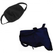 Spidy Moto Combo Of Waterproof Navy Blue Bike Body Cover + Anti Dust Cotton Mouth/Face Mask Universal for All Motorcycle