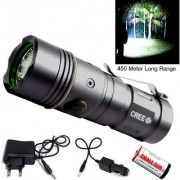 550 Meter Long Beam 3 Mode Rechargeable Weatherproof LED Flashlight Torch Outdoor Lamp Torch Light Emergency Lights 9W