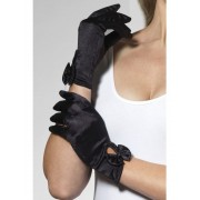Short Black Gloves With Bow Detail