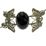 Bratara statement fluturi cu agat negru 25x18 MM