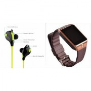 Mirza DZ09 Smartwatch and Jogger Bluetooth Headphone for LG OPTIMUS L5 DUAL(DZ09 Smart Watch With 4G Sim Card Memory Card| Jogger Bluetooth Headphone)