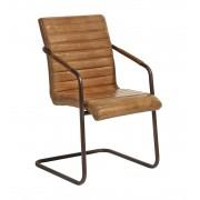 Solhem Stol brunt läder arm chair järn, nordal