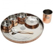 Taluka Copper Steel Hand Made Kitchen Plate/Thali Dinner Set Of 7 ( 1 Thali 3 Bowls 1 Pudding Bowl 1 Spoon 1 Copper Glass ) Hotel Home Dinnerware Gifting Purposes