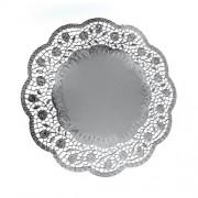 Dekoračné krajky okrúhle, strieborné Ø 36 cm [4 ks]