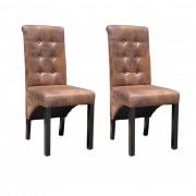 vidaXL Jedálenské stoličky, 2 ks, hnedé