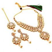 Jewar Mandi Necklace One Gram Gold Plated Kundan Pearl Polki Ad Cz Multi-Gemstones Rajputi Aad/Aar Jewelry For Women Girls 8195