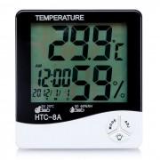 """""""HTC-8A 4"""""""" LCD luminosa temperatura + medidor de humedad reloj - blanco"""""""