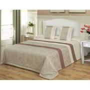 3 részes ágytakaró szett 200x220 cm - elegáns barna - drapp indás