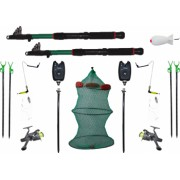 Set complet pescuit format din 2 lansete de 3m 2 mulinete 4 suporti 2 senzori 1 juvelnic cu 3 tronsoane 2 swinger 2 forface 1 racheta momit