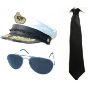 ILOVEFANCYDRESS Captain Set Fancy Dress Costume White Satin Captains Hat + Black Tie Aviator Glasses Sailor Naval Navy Man Instant Kit