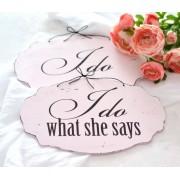 Set placute ovale nunta ''I do'' & 'I do what she says'' Recuzita nunta